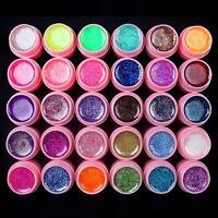 30 PCS Glitter Mix Colors UV Builder Gel Acrylic Set for Nail Art Tips Pink New