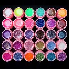 30 PCS Glitter Mix Colors UV Builder Gel Acrylic Set for Nail Art Tips Pink New