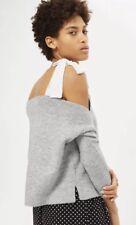 Topshop Petite Grey Marl Tie Sleeve Knitted Top Cold Shoulder Jumper, Size UK 14