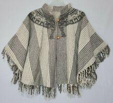 Vintage Poncho Cape Inca Aztec Print Gray White Stripe Fringe OOAK!
