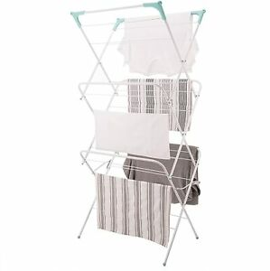 Three-Tier Folding Concertina Laundry Washing Clothes Horse Airer, White