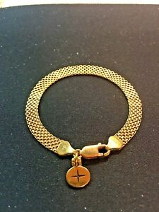 14kt real gold mesh bracelet with charm