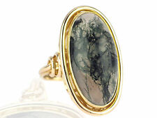 Art Deco Damen Herren 585 Gelb Gold Moosachat Cabochon Ring 13,6 g