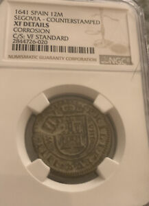 1641 Spain SEGOVIA counter stamped  12 Maravedis XF Details NGC