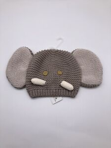Baby Gap Elephant Knit Beanie Sizes 0-3 months Brown NWT