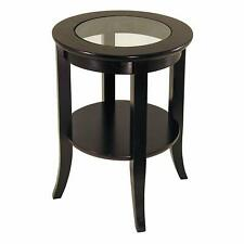 Round End Table Clear Glass Tabletop Wood Construction  Dark Espresso Finish NEW