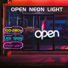 40x18cm White Led Neon Open Sign Shop Store Bar Cafe Business Light Lamp Decor