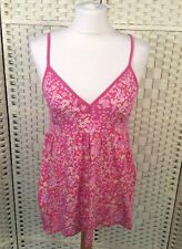 Pink Floral 100% Cotton Wrap Summer Vest Tunic Top 8/10 Ditsy Cami Babydoll Long