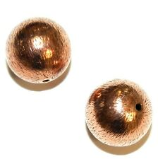 MB3155f Brushed Textured Antiqued Copper Round 14mm Beads 6pkg