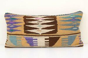 "14"" x 30"" Organic Embroidered Rare Pattern Turkish Pillow, Bohemian Kilim Pillow"
