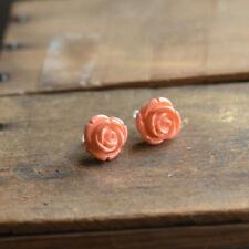 Lolita Brand Coral Color Rosebud Stud Earrings