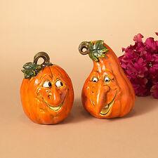 "2274810 5"" Pumpkin Patch Face Set/2 Halloween Table Figure Decoration Funny Man"