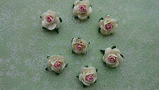 2 tone Mulberry Paper Roses, Pink Centre, 10mm, Wedding, Craft Embellishment