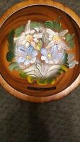 Rare Italy Passo Rolle 1984 Wooden Bowl handpainted Vintage Flowers