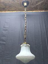 Antique Victorian Brass Pendant Light Decorative Milk Glass Globe Vtg 392-17E