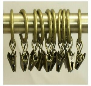 CURTAIN HOOKS BRASS GOLD METAL WITH CLIPS -to hang various type of curtains x10