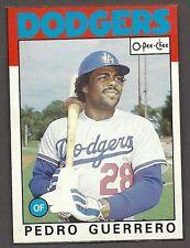"1986 OPeeChee (OPC) Box-bottom Card  ""G"", Dodgers' Pedro Guerrero"