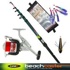 Telescopic Beachcaster 12ft Fishing Rod Sea Reel, Lead, Wallet Mackerel Feathers