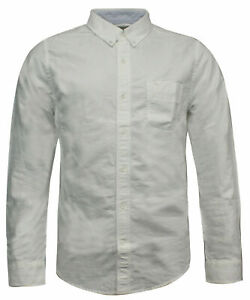 Timberland Collared Button Down Mens Shirt Top Casual Off White 5430J 100