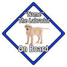 Personalised Dog On Board Car Safety Sign ?  Blonde Labrador On Board (Blue)