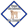 Personalised Dog On Board Car Safety Sign ?  Blonde Labrador On Board (Blue)