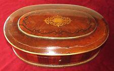 Grand Coffret boite à Perruque XVIIIe marqueterie et incrustation laiton ciselé