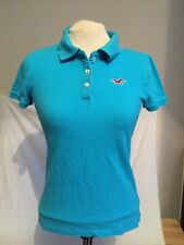 Authentic Hollister Women's Polo Shirt in Sky Blue UK Size Small