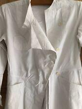 Vintage French long WHITE cotton APRON WORK WEAR c1950