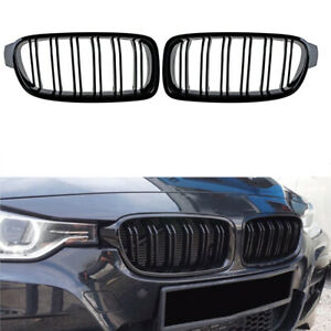 Gloss Black Front Kidney Grille Grills For BMW 3 Series F30 328i 335i 2012-2018