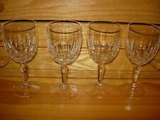 "FOUR  STEM CRYSTAL WINE GLASSES---6"" HIGH X 2 1/2"" ACROSS----#Y34A-B36"