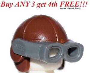 ☀️NEW Lego City Minifig Hat Reddish Brown w/ Gray Googles Avaitor Helmet Cap