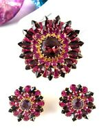 GORGEOUS JUDY LEE FUCHSIA AMETHYST RHINESTONE TIERED FLORAL BROOCH EARRINGS SET