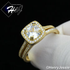 WOMEN 925 STERLING SILVER GOLD/SILVER ICED SQUARE ENGAGEMENT RING SET*SR101
