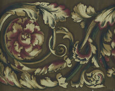 JACOBEAN SCROLL ON BROWN WALLPAPER BORDER