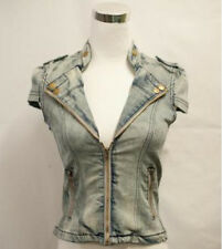 Sand washed short sleeve Girls women Jean/Denim Jacket  Cotton Size M new