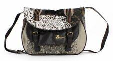 DESIGUAL WOMENS SHOULDER BAG HANDBAG TOTE SATCHEL EMBROIDERED FLORAL BROWN 114