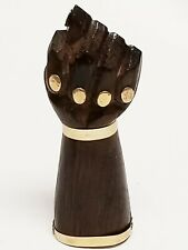 Vintage Figa Fist Hand Carved Wood Gold Good Luck Sculpture Figurine Fertility