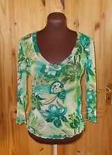 PER UNA M&S green turquoise floral stretch chiffon 3/4 sleeve tunic top 12 40