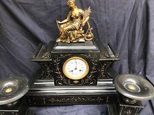 XXL Kaminuhr Marmor Gründerzeit Historismus Pendele Antik Vintage Tischuhr