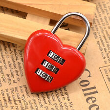 Mini 3 Digit Code Lock Heart Padlock Luggage Bag Resettable Password Red Cute
