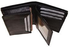Mens Expandable Leather Credit/Business Card Holder front pocket flap Wallet Bk