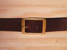 Laiton Rectangle 1 1/4 pouces en cuir Ceinture Taille Homme Femme Noir Marron Tan