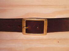 Brass Rectangle 1 1/4 Inch Leather Belt Waist Size Mens Ladies Black Brown Tan