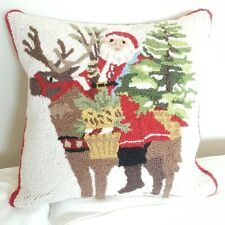 Embroidered Christmas Santa Rudolph cushion cover accent pillow