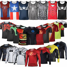 UK Superhero T Shirt Compression Under Base Layer Running Cycling Vest Tank Top