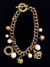 Vintage Givenchy  Gold Tone Chain Necklace w Huge Charms  GIVENCHY, N.Y., PARIS