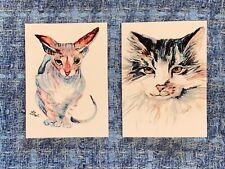 2x ACEO Сats Sphinx Animals Print Miniature Original Watercolor signet lot arts
