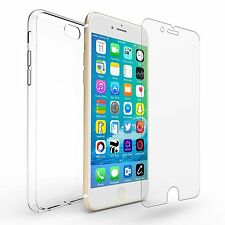 Tempered Glass Screen Protector & Ultra Thin Silicone Gel Case Cover For iPhones