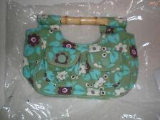 NIB Baby Gap Brand Bamboo Handle Girls Tote/Purse Green Floral Print