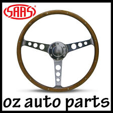 "SAAS STEERING WHEEL WOOD 15"" CLASSIC POLISHED ALLOY HOLES + RIVET DEEP DISH"